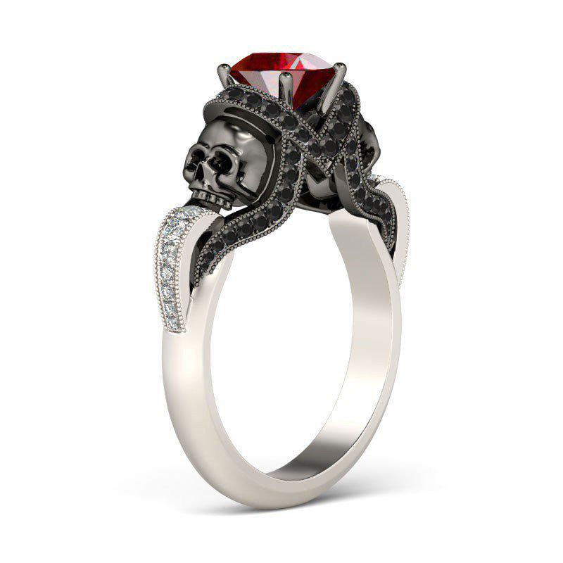 Round Ruby Zircon Twist Vapor-like Ribbons Gold Plated Sterling Silver Skull Ring