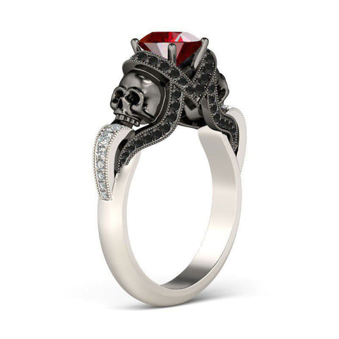 Personalized Ruby Zircon Twist Vapor-like Ribbons Gold Plated Sterling Silver Skull Ring
