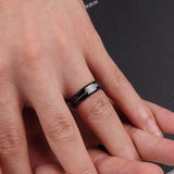 Black Tungsten Steel Cardiogram Couple Rings