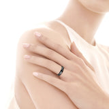 Personalized Lover's Black Titanium Zircon Inlay Couple Rings