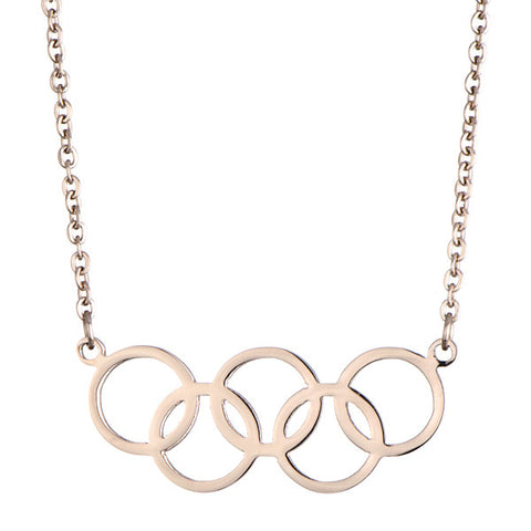 Gold 2016 Rio Summer Olympic Symbol Necklace - Olympics Five Rings Jewelry