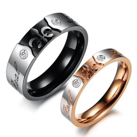 Real Love Crystal Inlaid Lover's Rings