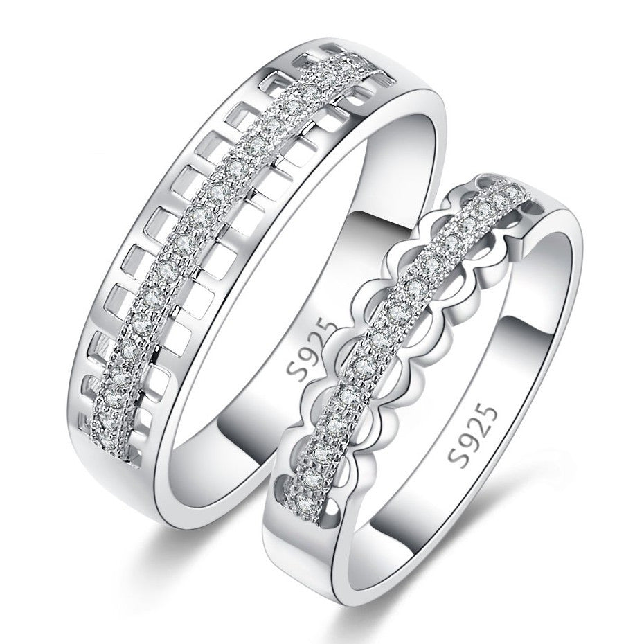 53c1830799 Hollow 925 Sterling Silver Inlaid Cubic Zirconia Couple Rings – EverMarker