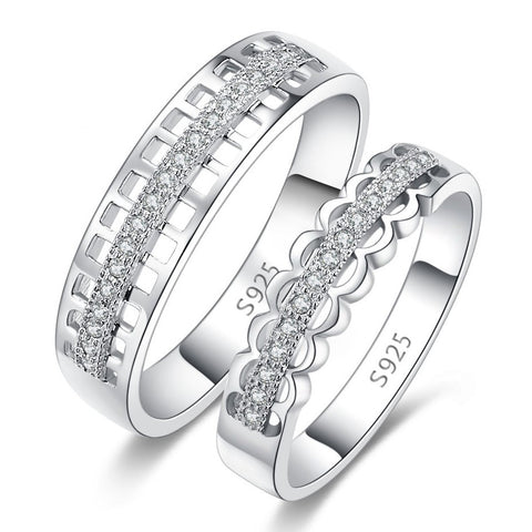 original-hollow-925-sterling-silver-inlaid-cubic-zirconia-couple-rings