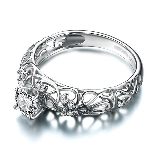 ... Retro Hollow 925 Sterling Silver Engagement Ring ...