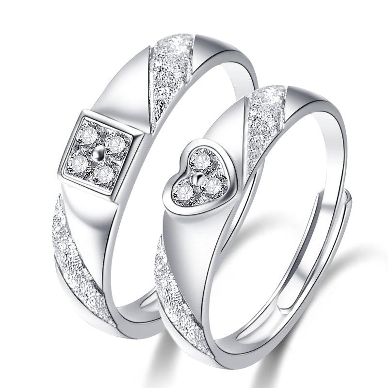 Adjustable 925 Sterling Silver With Cz Couple Rings Evermarker