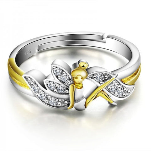 Exquisite 925 Sterling Silver Flower Fairy Shape Opening Ring