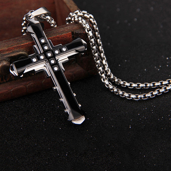 Cross Titanium Zircon Inlay Men's Necklace