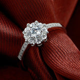 925 Sterling Silver Diamond Sparkling Engagement Ring
