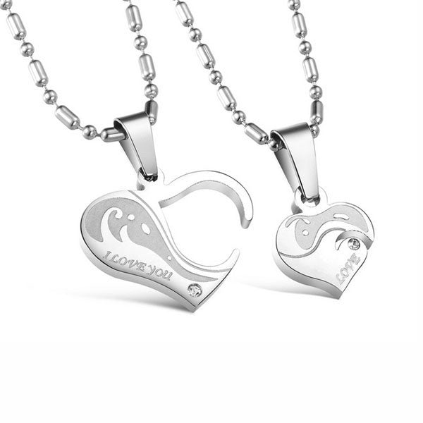 Heart-shaped Stainless Steel Couple Necklaces