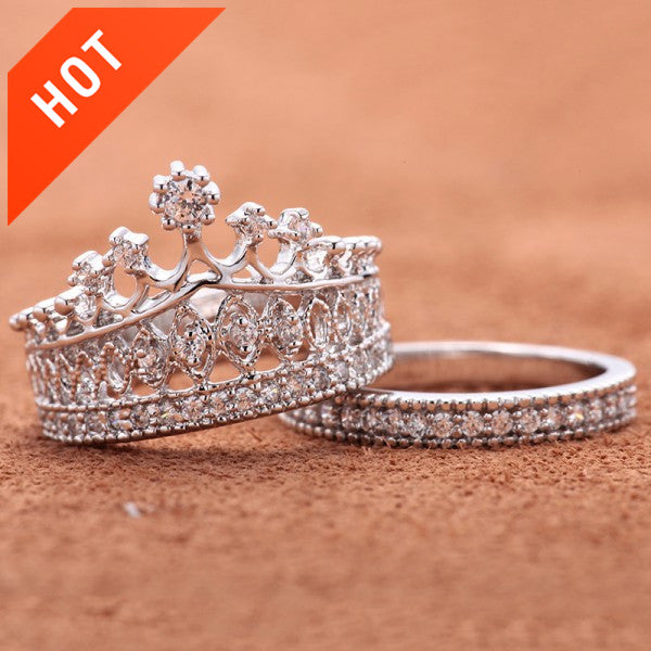 engagement and promise crystal lovers for large open products ring men women design crown couple rhinestone marriage jewelry rings cross