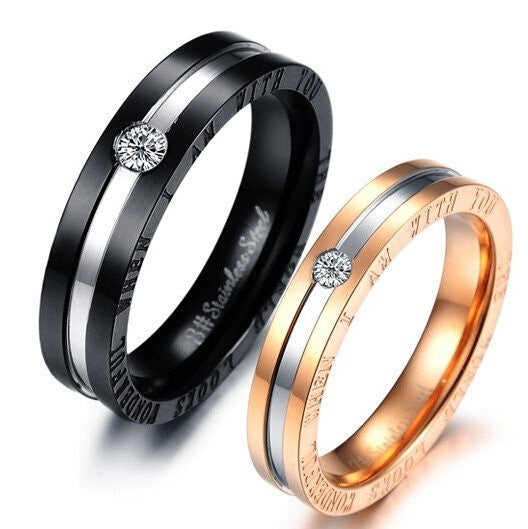Titanium Black & Rose Gold Zircon Couple Rings