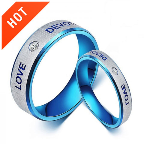 Personalized Blue Love Titanium Steel Couple Rings