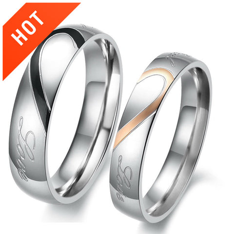 Personalized Matching Heart |Real Love| Titanium Couple Rings