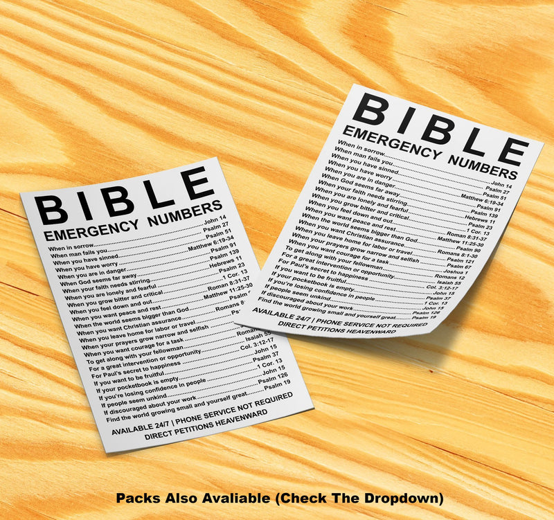 Bible Emergency Numbers Stickers - Our Lord Style