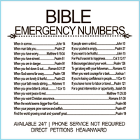 Bible Emergency Numbers Canvas Print With Stand (FREE SHIPPING)-Canvas Wall Art-Our Lord Style