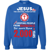 Jesus The Original Firefighter! Crewneck Pullover Sweatshirt-Apparel-Our Lord Style