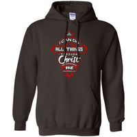 Philippians 4:13 Pullover Hoodie (Front Design)-Apparel-Our Lord Style