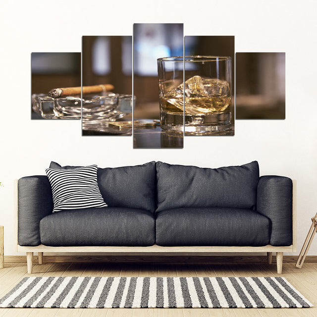 Cigar and Bourbon 5 Piece Framed Canvas