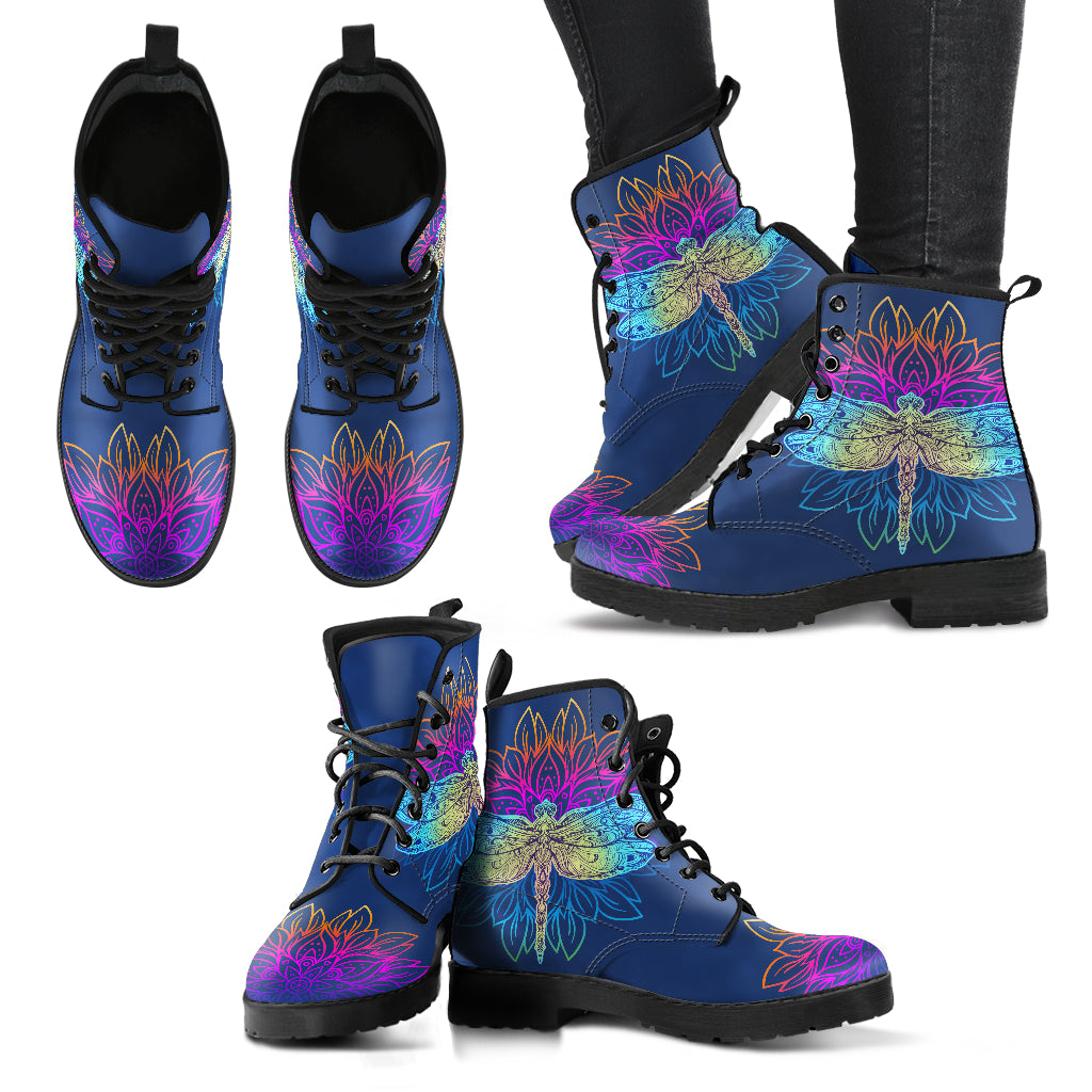 Lotus Dragonfly Handcrafted Boots