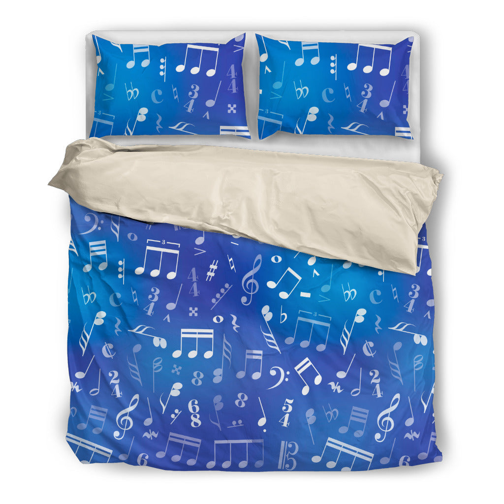 Blue Music Notes Bedding Set