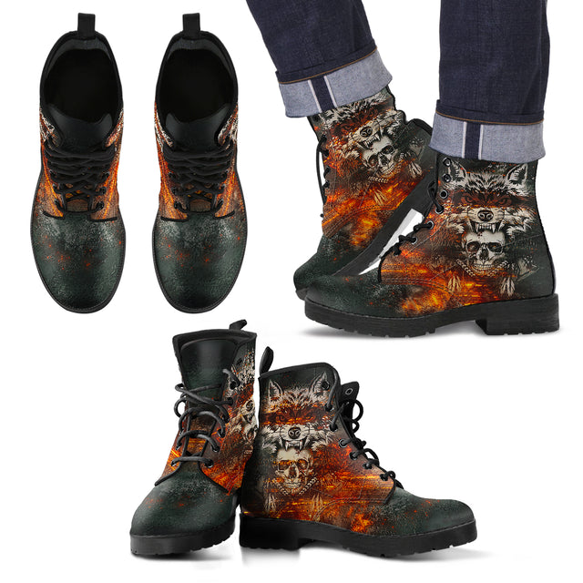 Wolf & Skull Men's Handcrafted Premium Boots V2