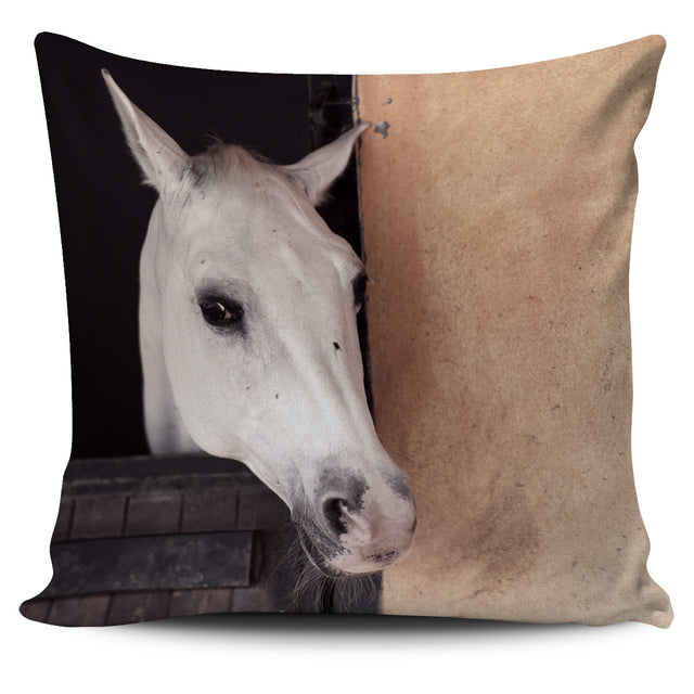 White Horse on the Farm Pillow Cover