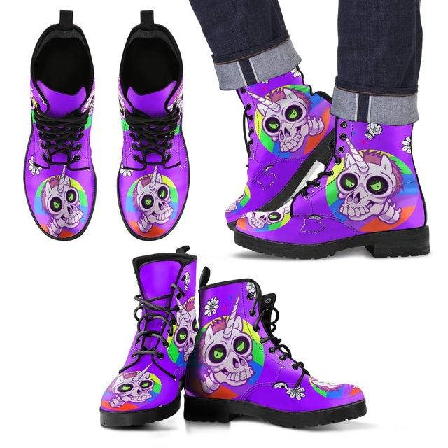 Zombie Unicorn Mens Custom Leather Look Boots