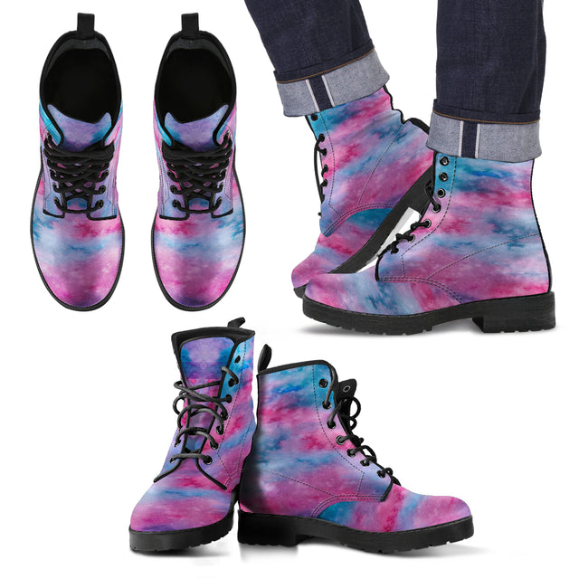 Watercolor Pink Faux Leather Boots Mens