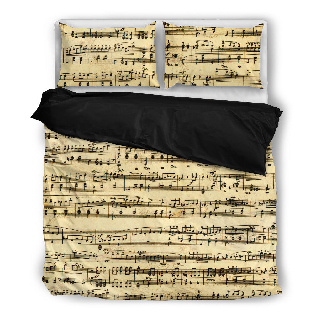 Sheet Music Bedding Set Black Bedding Set