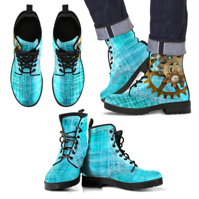 Steampunk Blue Men's Leather Boots
