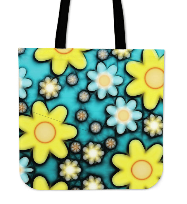 Yellow & White Flowers Tote Bag