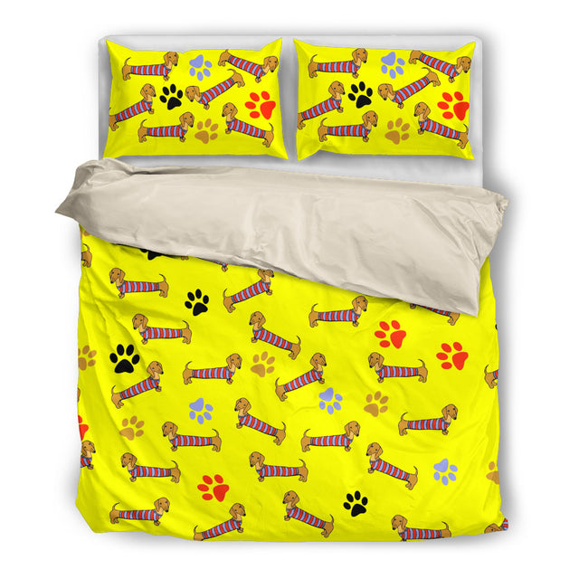 Yellow bedding with dachsund