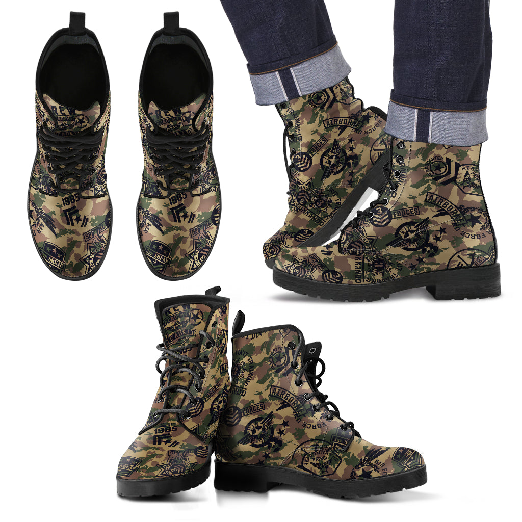 Military Shoes Camouflage Design Men's Leather Boots