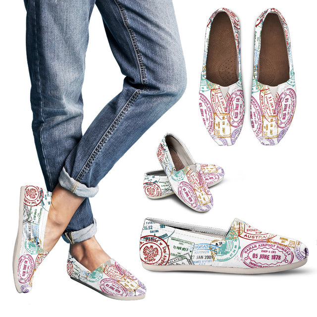 WOMEN'S PASSPORT STAMPS CASUAL SHOES (WHITE) - FREE SHIPPING WORLDWIDE