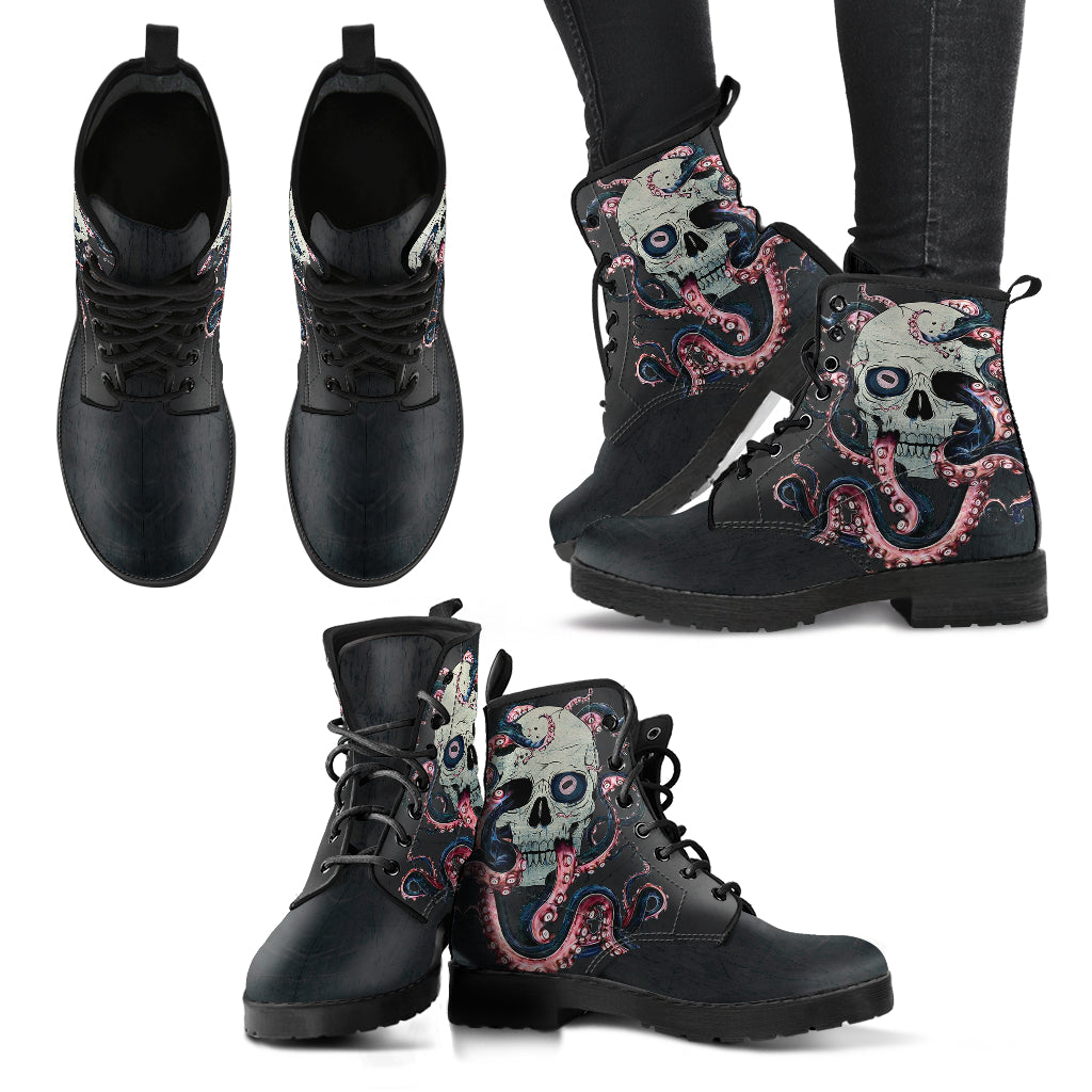 Octopus Skull Handcrafted Boots