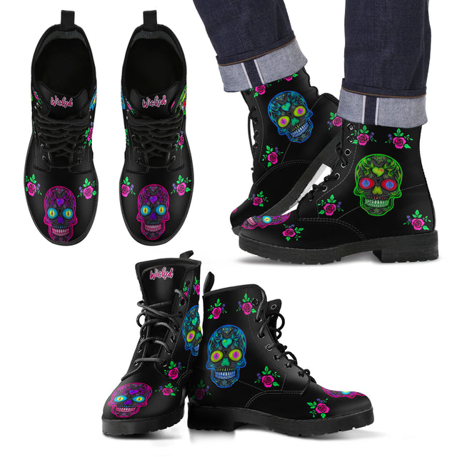 Wicked Skulls Men's Leather Boots