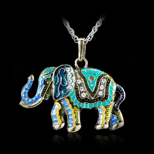 Wild Animal Elephant  Long Chain Necklace Costume Pendant