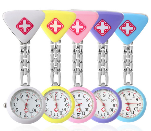 Clip Triangle Pendant Pocket Quartz Red Cross Nurses Watch