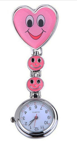 Heart Clip On Pendant Nurse FOB Brooch Pocket Watch