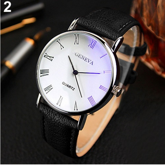 Roman Numerals Blue-Ray Faux Leather Band Quartz Business Watch