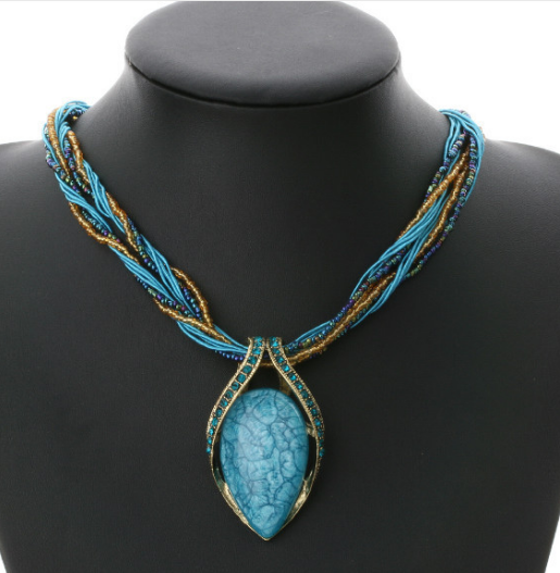 Bead Opal Necklace Pendant Collar Statement Necklace-Offer