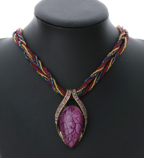 Bead Opal Necklace Pendant Collar Statement Necklace!