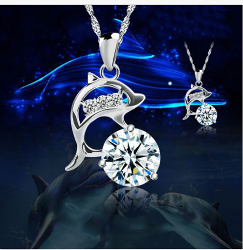 Dolphin Silver Plated Rhinestone Pendant Necklace-offer
