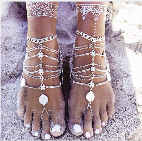 Antique Silver Anklet barefoot Sandals