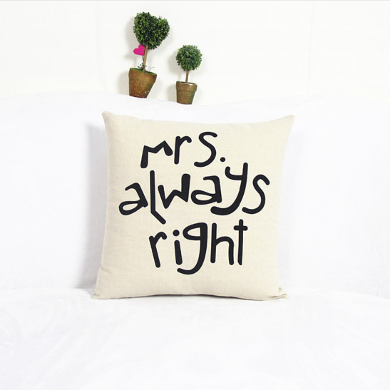 Mr. & Mrs. Cotton Linen Pillow Cases