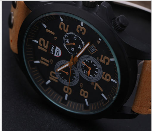 Military Leather Waterproof Date Quartz Watch!
