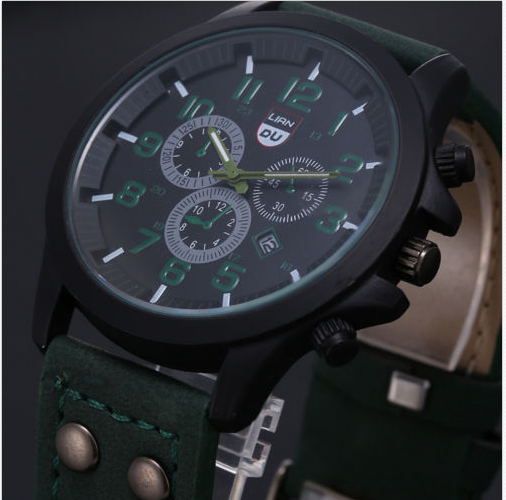 Military Leather Waterproof Date Quartz Watch-Offer!!!
