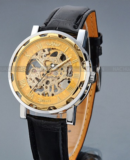 Gold Dial Skeleton Black Leather Mechanical Sport Army Wrist Watch-Offer