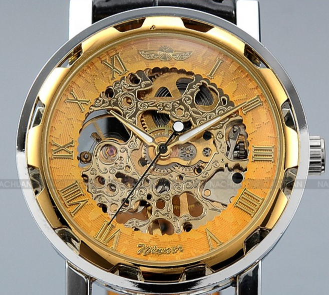 Gold Dial Skeleton Black Leather Mechanical Sport Army Wrist Watch